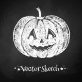 Chalked childlike drawing of Halloween pumpkin. — Stock Vector