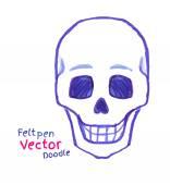Childlike felt pen drawing of skull — Stock Vector