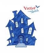 Childlike drawing of spooky house — Stock Vector