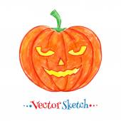 Childlike drawing of Halloween pumpkin — Vettoriale Stock