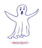 Childlike felt pen drawing of ghost — Stock Vector