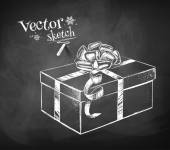 Gift box on the blackboard — Stock Vector