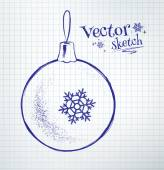 Christmas ball on notebook paper — Vetorial Stock
