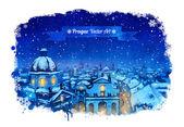 Winter Prague cityscape. — Stock Vector