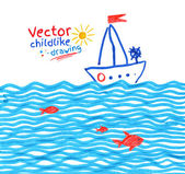 Childlike drawing of seaside — Stock Vector