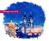 Christmas Prague. — Stock Vector