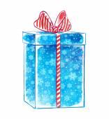 συσκευασία δώρου με νιφάδες χιονιού. — Φωτογραφία Αρχείου