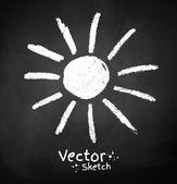 Chalkboard drawing of sun. — Stock Vector
