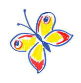 Childlike drawing of butterfly. — Stock Photo
