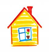 Childlike drawing of house. — Stock Photo