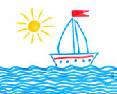 Felt pen childlike drawing of ship — Stock Photo