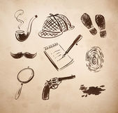 Detective sketch icons set. — Stock Vector