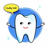 Cute healthy white tooth character. — Stock Vector