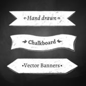 Chalkboard drawing of ribbon banners. — Stock Vector