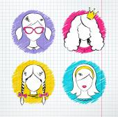 Female avatar set. — ストックベクタ