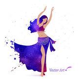 Watercolor  Belly dancer. — Stock Vector