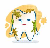 Cute aching tooth . — Vector de stock