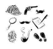 Detective sketch icons. — Stock Vector