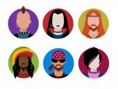 Male characters avatars. — Stock vektor