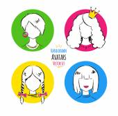 Hand drawn Female avatars. — Stock Vector