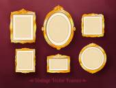 Vintage baroque golden frames set — ストックベクタ