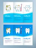 Dental care leaflet design — ストックベクタ