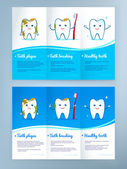 Dental care leaflet design — Stock Vector
