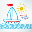 Childlike drawing of ship — Stock Vector #63378841