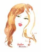 Watercolor fashion woman — Stock Vector