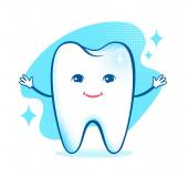 Healthy happy tooth character. — Vector de stock
