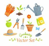 Gardening equipment  set. — Stock Vector