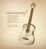Vintage Classical guitar — Stock Vector