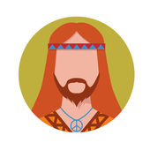 Hippie male avatar. — Stock Vector