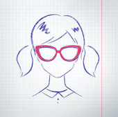 Female avatar on school notebook paper — Stock vektor