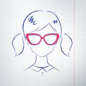 Female avatar on school notebook paper — Stock Vector