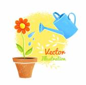 Flower and watering can.  — Stock Vector
