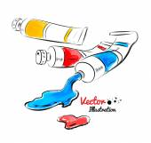 Paint tubes and oil paint — Stockvektor