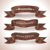 Watercolor set of brown ribbon banners — Vector de stock
