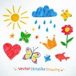 Summer felt pen child drawing — Stock Vector #69098241