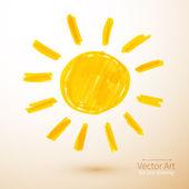 Sun. Felt pen drawing. — Stock Vector