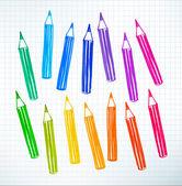 Felt pen drawing of colored pencils — Vector de stock