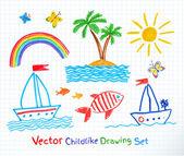 Summer seaside set. — Stock Vector