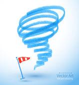 Felt pen drawing of storm. — Stock Vector