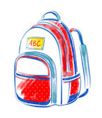 Watercolor   school bag. — Stock Photo