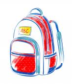 Watercolor   school bag. — Stock fotografie