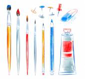 Set of art tools. — Stock Photo