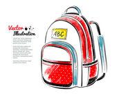 Watercolor School bag — Stock Vector
