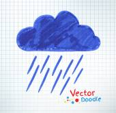 Pouring rain and cloud. — Stock Vector