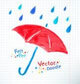 Umbrella and rain drops — Stock Vector