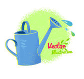 Watering can with drops — Stock Vector